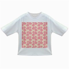 Cream And Salmon Hearts Baby T-shirt