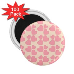 Cream And Salmon Hearts 2.25  Button Magnet (100 pack)