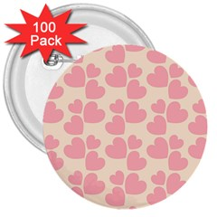 Cream And Salmon Hearts 3  Button (100 pack)