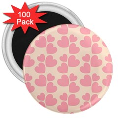 Cream And Salmon Hearts 3  Button Magnet (100 pack)