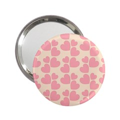 Cream And Salmon Hearts Handbag Mirror (2.25 )