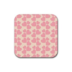 Cream And Salmon Hearts Drink Coasters 4 Pack (Square)