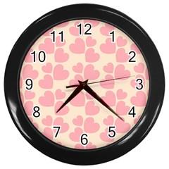 Cream And Salmon Hearts Wall Clock (Black)