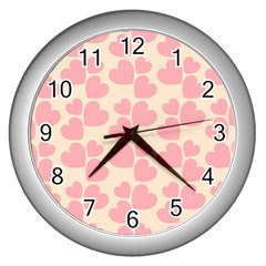 Cream And Salmon Hearts Wall Clock (Silver)