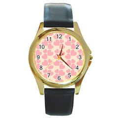 Cream And Salmon Hearts Round Leather Watch (gold Rim)