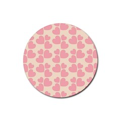 Cream And Salmon Hearts Drink Coasters 4 Pack (Round)