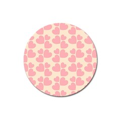 Cream And Salmon Hearts Magnet 3  (round)