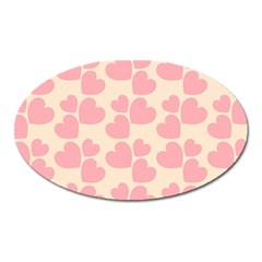 Cream And Salmon Hearts Magnet (Oval)