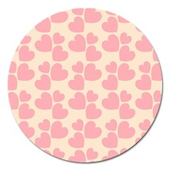 Cream And Salmon Hearts Magnet 5  (Round)