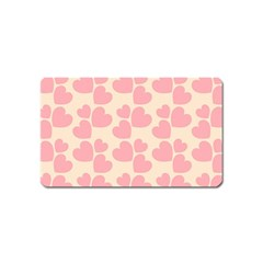 Cream And Salmon Hearts Magnet (Name Card)
