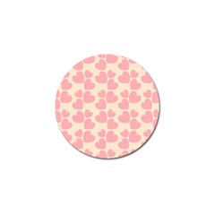 Cream And Salmon Hearts Golf Ball Marker 4 Pack
