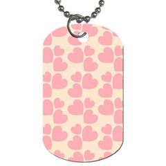 Cream And Salmon Hearts Dog Tag (Two-sided)