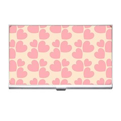 Cream And Salmon Hearts Business Card Holder