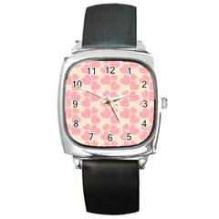 Cream And Salmon Hearts Square Leather Watch