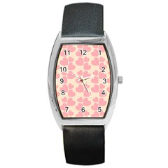 Cream And Salmon Hearts Tonneau Leather Watch