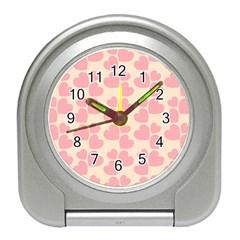 Cream And Salmon Hearts Desk Alarm Clock