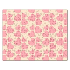 Cream And Salmon Hearts Jigsaw Puzzle (Rectangle)