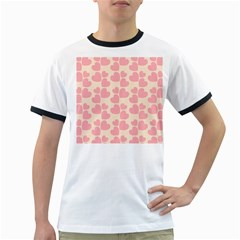 Cream And Salmon Hearts Men s Ringer T-shirt