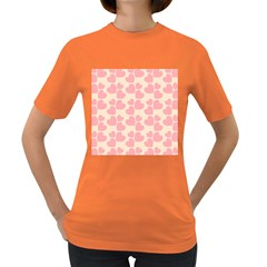 Cream And Salmon Hearts Women s T-shirt (Colored)