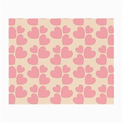 Cream And Salmon Hearts Glasses Cloth (Small)