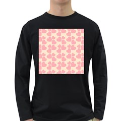 Cream And Salmon Hearts Men s Long Sleeve T-shirt (Dark Colored)