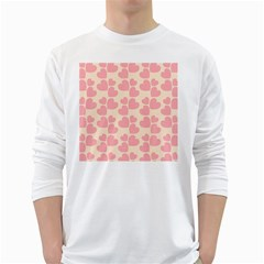 Cream And Salmon Hearts Men s Long Sleeve T-shirt (White)