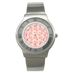 Cream And Salmon Hearts Stainless Steel Watch (Slim)