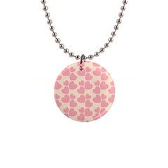 Cream And Salmon Hearts Button Necklace