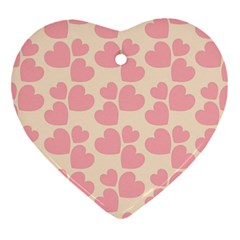 Cream And Salmon Hearts Heart Ornament (Two Sides)