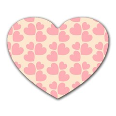 Cream And Salmon Hearts Mouse Pad (heart)