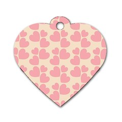 Cream And Salmon Hearts Dog Tag Heart (Two Sided)