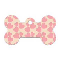 Cream And Salmon Hearts Dog Tag Bone (Two Sided)