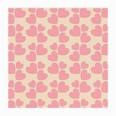 Cream And Salmon Hearts Glasses Cloth (Medium, Two Sided)