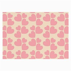 Cream And Salmon Hearts Glasses Cloth (Large, Two Sided)