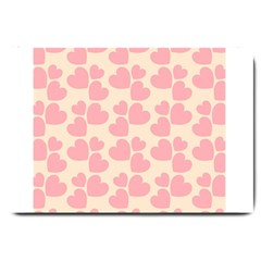 Cream And Salmon Hearts Large Door Mat