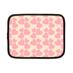 Cream And Salmon Hearts Netbook Sleeve (small)
