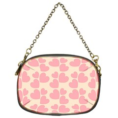Cream And Salmon Hearts Chain Purse (One Side)