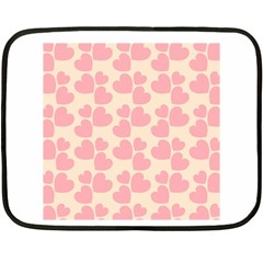 Cream And Salmon Hearts Mini Fleece Blanket (Two Sided)