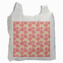 Cream And Salmon Hearts Recycle Bag (Two Sides)