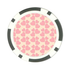 Cream And Salmon Hearts Poker Chip (10 Pack)