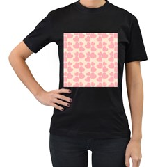 Cream And Salmon Hearts Women s T-shirt (Black)