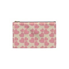 Cream And Salmon Hearts Cosmetic Bag (Small)