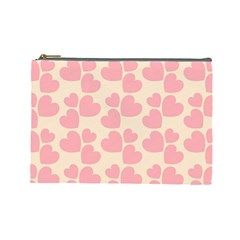 Cream And Salmon Hearts Cosmetic Bag (large)