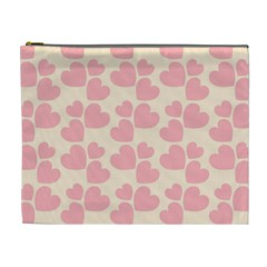 Cream And Salmon Hearts Cosmetic Bag (XL)