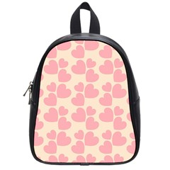 Cream And Salmon Hearts School Bag (Small)