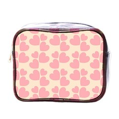 Cream And Salmon Hearts Mini Travel Toiletry Bag (One Side)