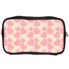 Cream And Salmon Hearts Travel Toiletry Bag (One Side)