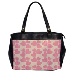Cream And Salmon Hearts Oversize Office Handbag (one Side)