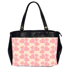 Cream And Salmon Hearts Oversize Office Handbag (two Sides)