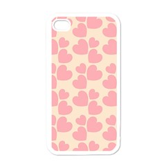 Cream And Salmon Hearts Apple Iphone 4 Case (white)